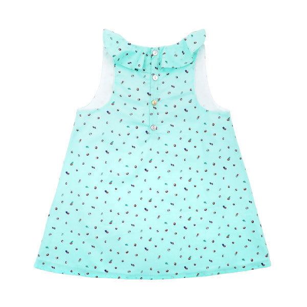 Baby Elise Dress Turquoise Buds