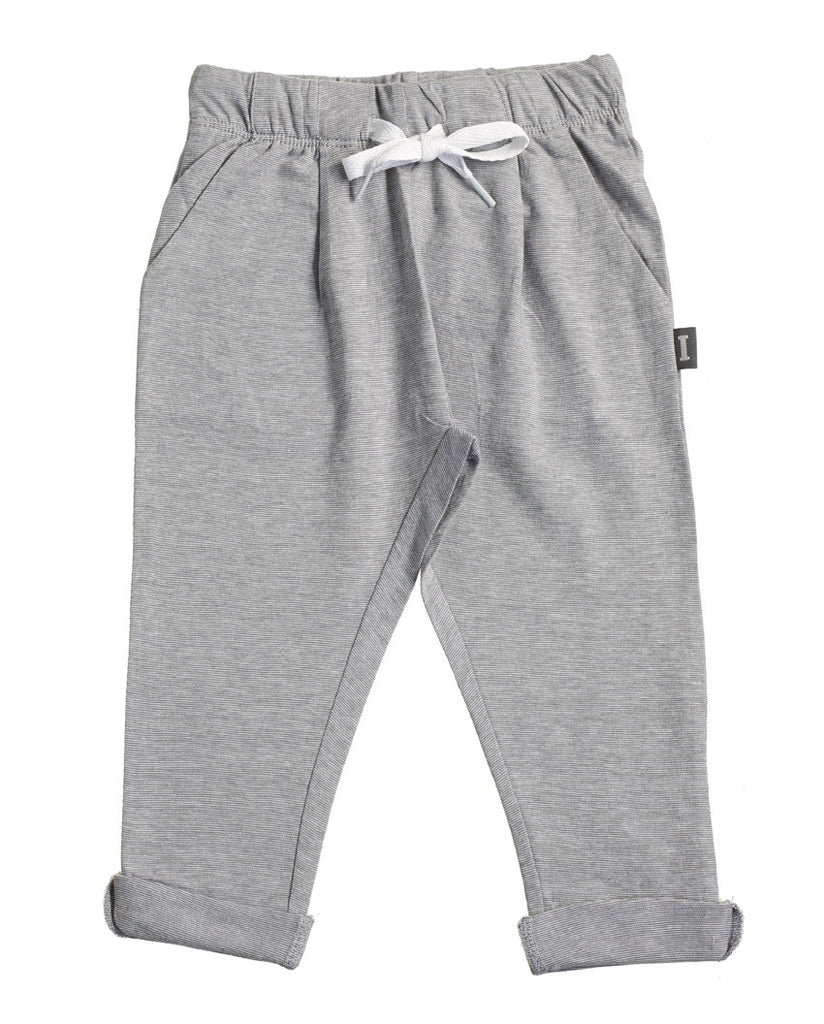 Baby Organic Cotton Grey Striped Sweatpants