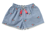 Girls Coco Palm Stripy Blue  Embroidered Shorts