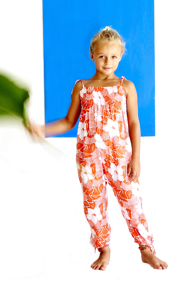 Girls Bonnie Flower Orange Jumpsuit