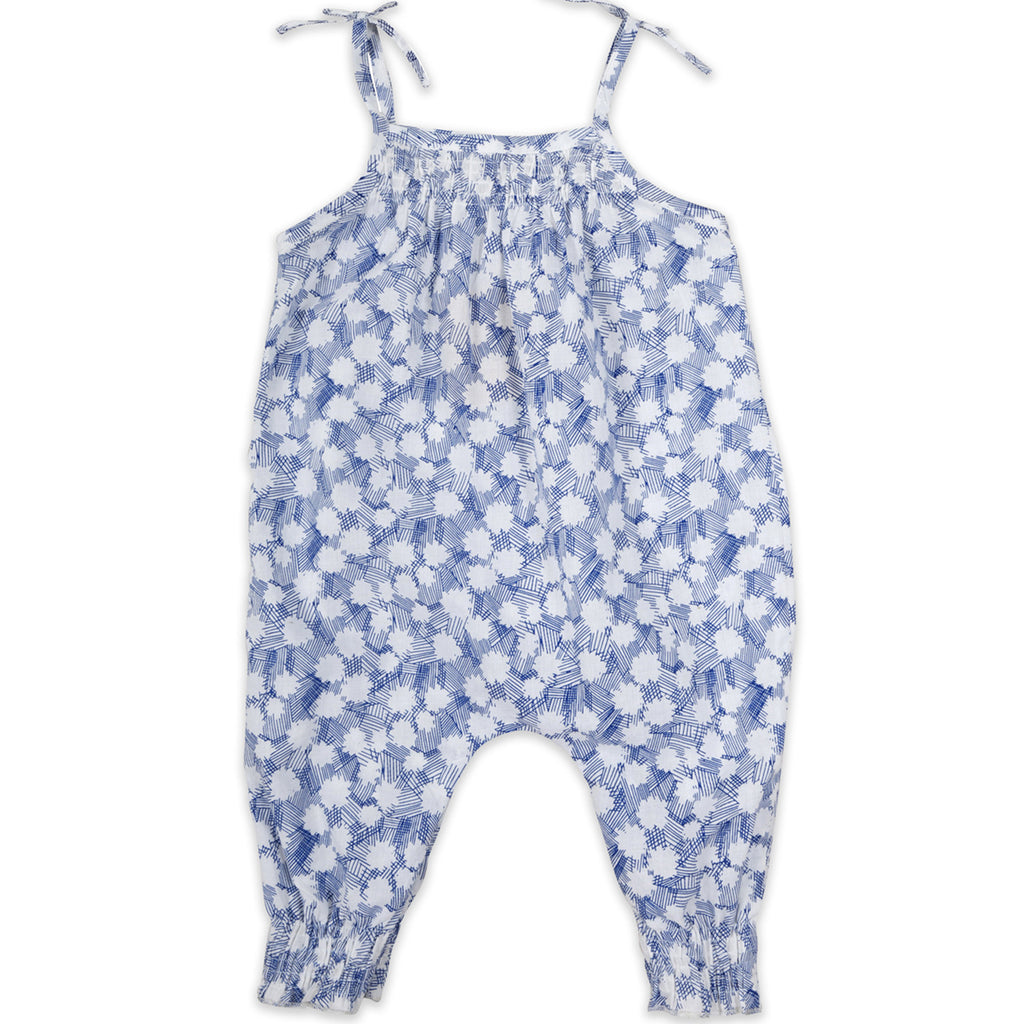 Baby Printed Overalls Blue Flowers