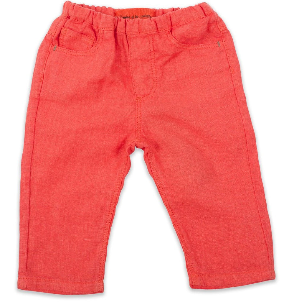 Baby Linen Trousers Coral