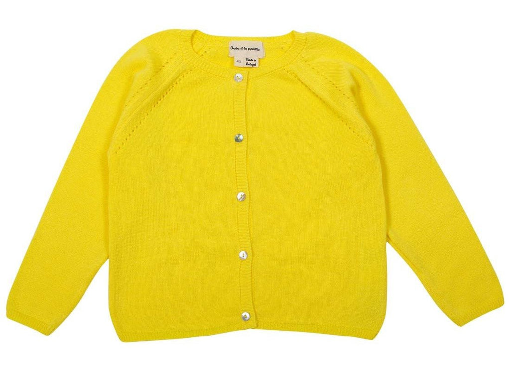 Girls Raglan Sleeves Cardigan Yellow