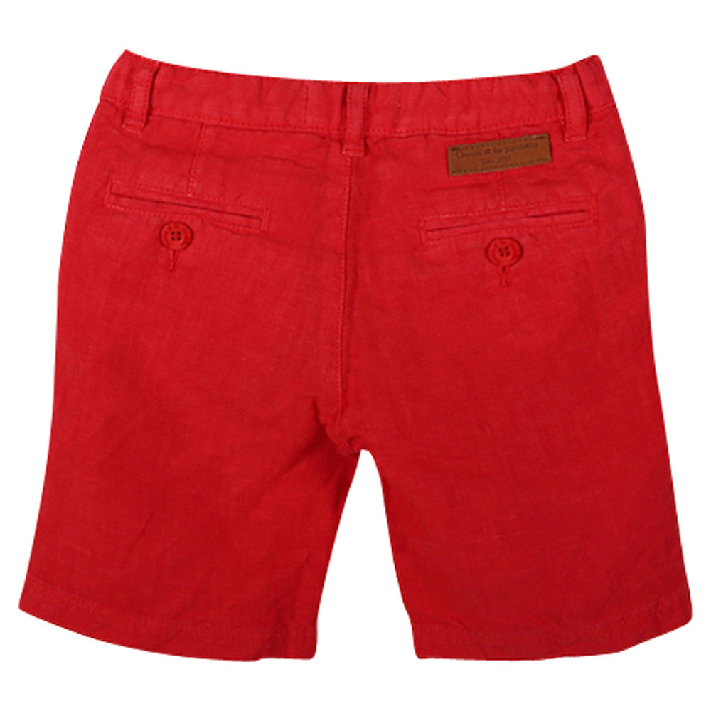 Boys Red Bermuda Shorts