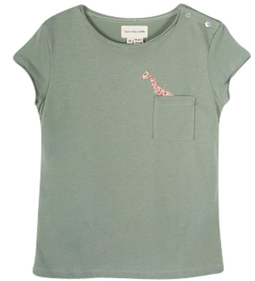 Girls Olive Green Perrine Popping Giraffe T Shirt