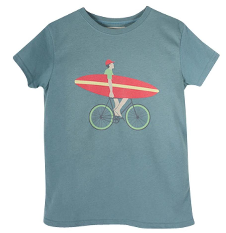 Boys Petrol Blue Phine Bicycle and Board Print T Shirt