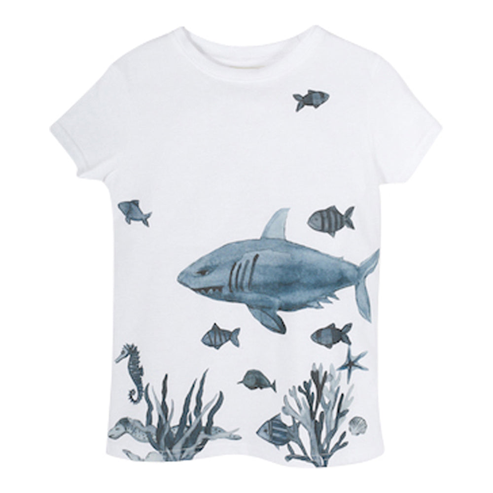 Boys White Phong Shark T Shirt