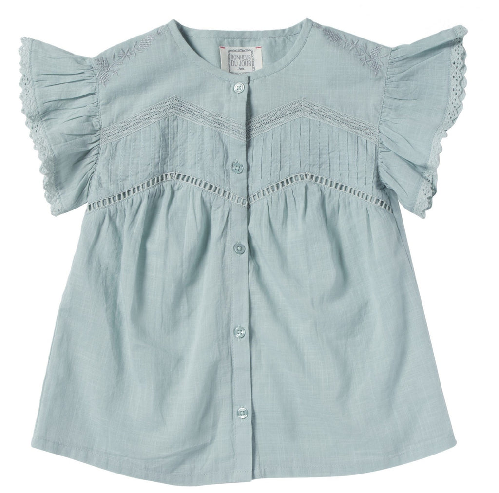 Girls Elise Blue Ice Embroidered Blouse