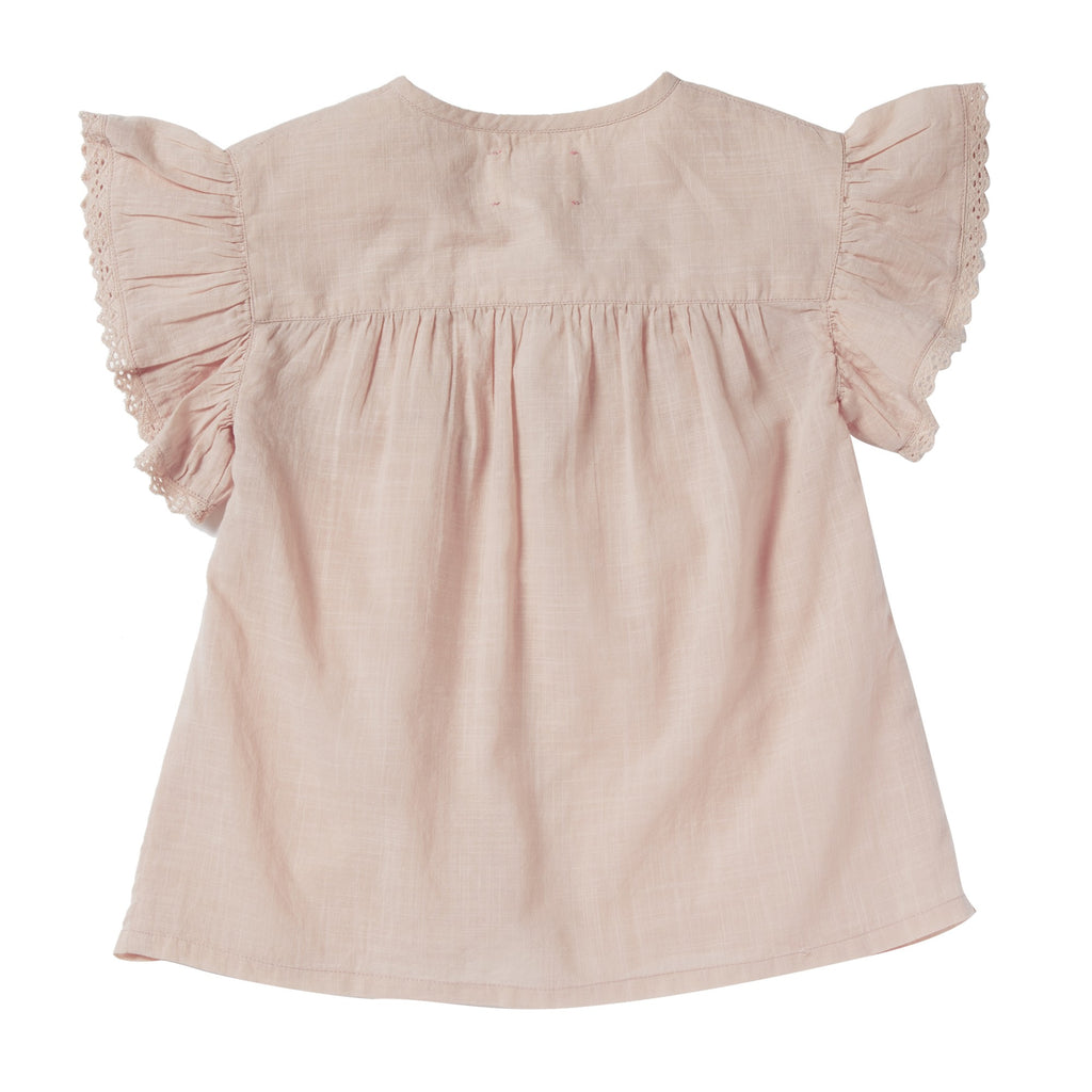 Girls Elise Pink Embroidered Blouse