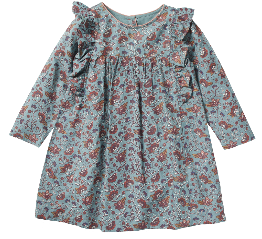 Girls Faustine Blue Flowers Dress