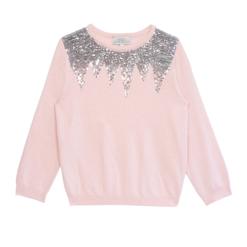 Girls Shell Pink Sequin Solstice Jumper