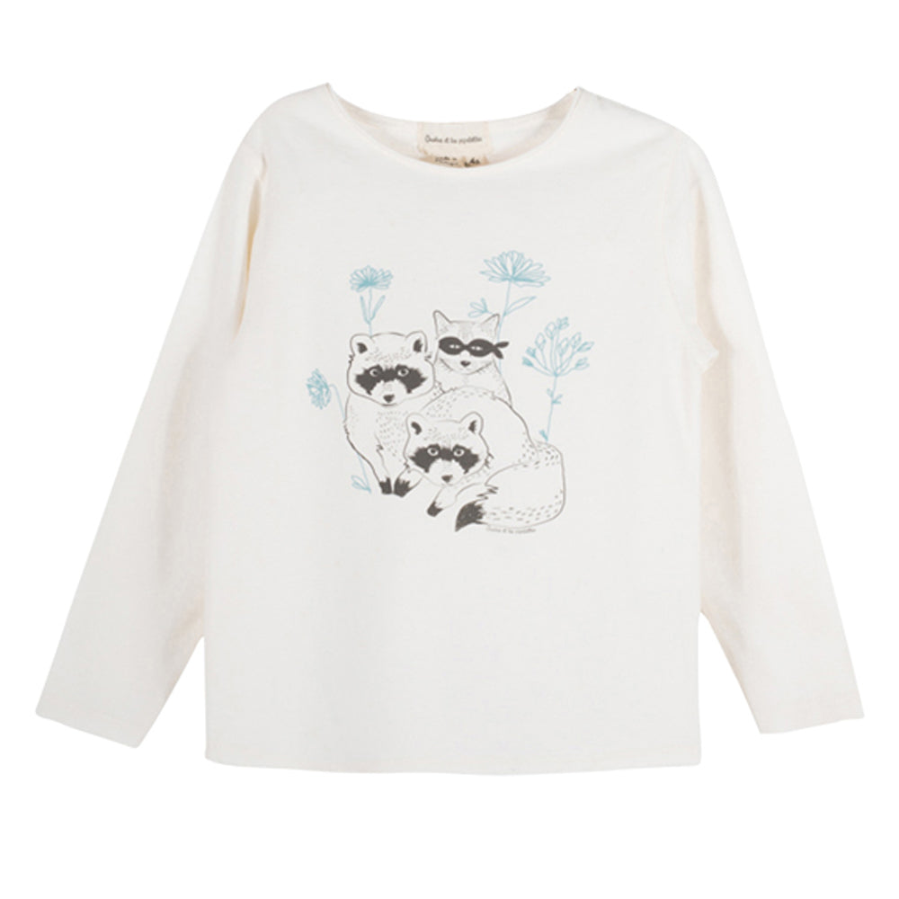 Girls Monalisa Raccoons & Cat T Shirt