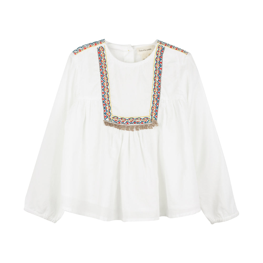 Girls Ecru Embroidered Blouse