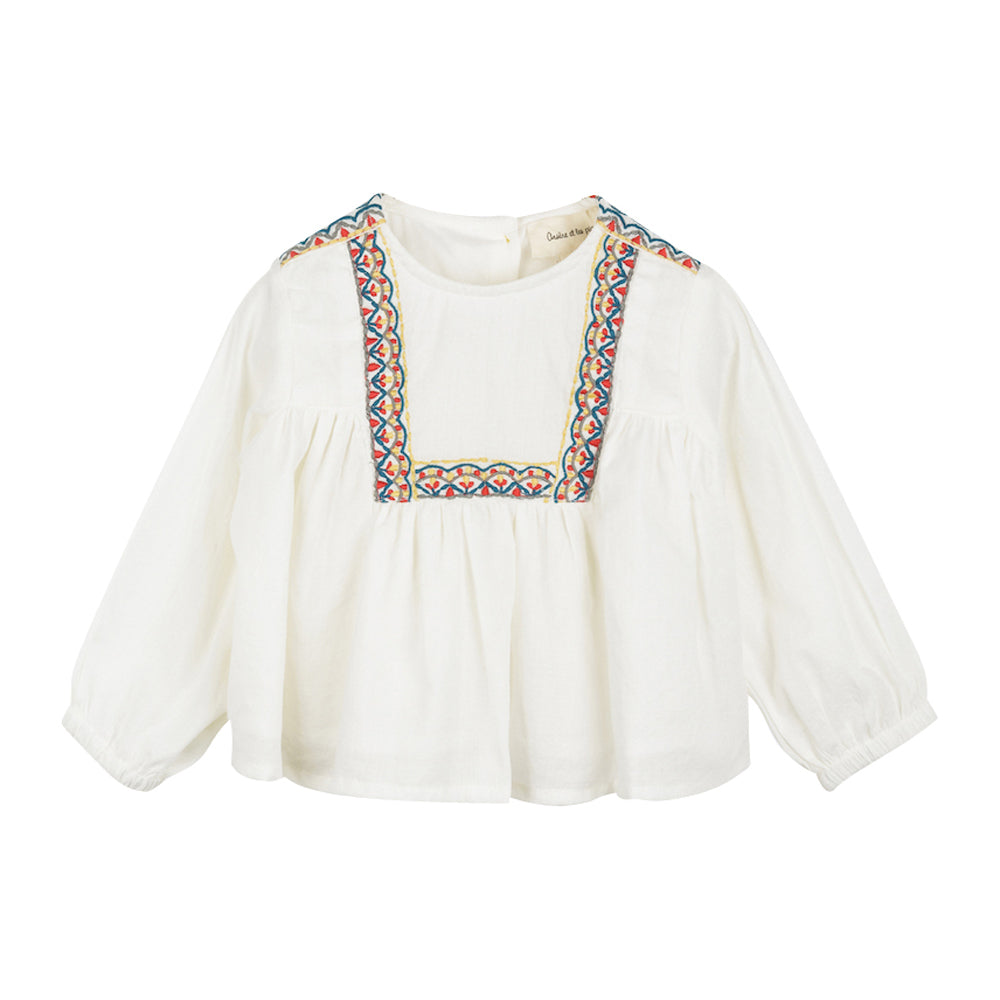 Baby Girl Ecru Embroidered Blouse