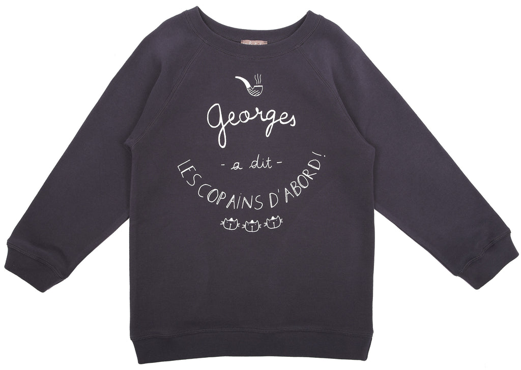 "Baby Girl ""Les Copains D'abord"" Pepper Sweatshirt"