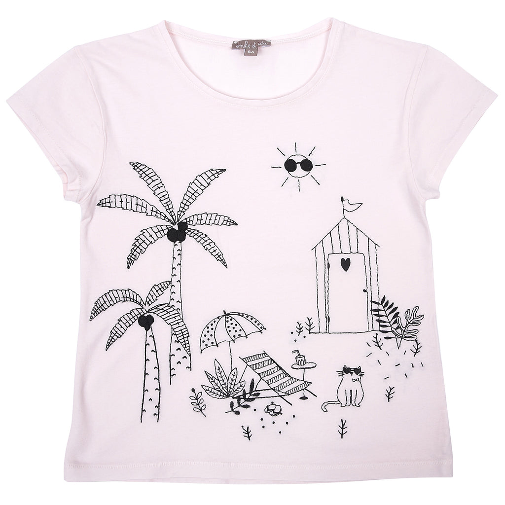 Girls Rose Pale Jardin T Shirt