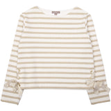 Girls Ecru-Or Striped Sweatshirt