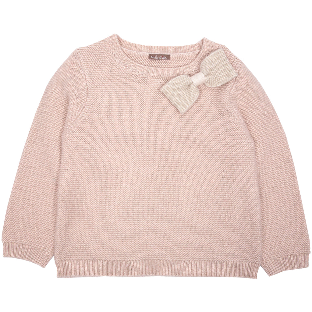 Girls Pink Jumper With Bow