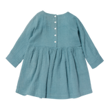 Girls Margot Blue Grey Dress
