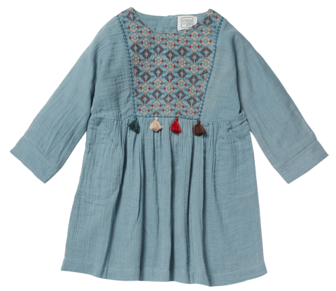 Girls Rosinella Petrol Blue Dress