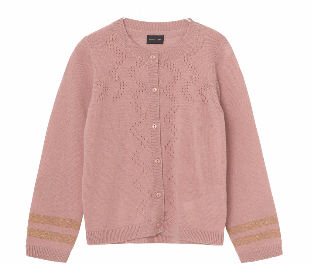 Girls Frances Cameo Rose Brown Cardigan