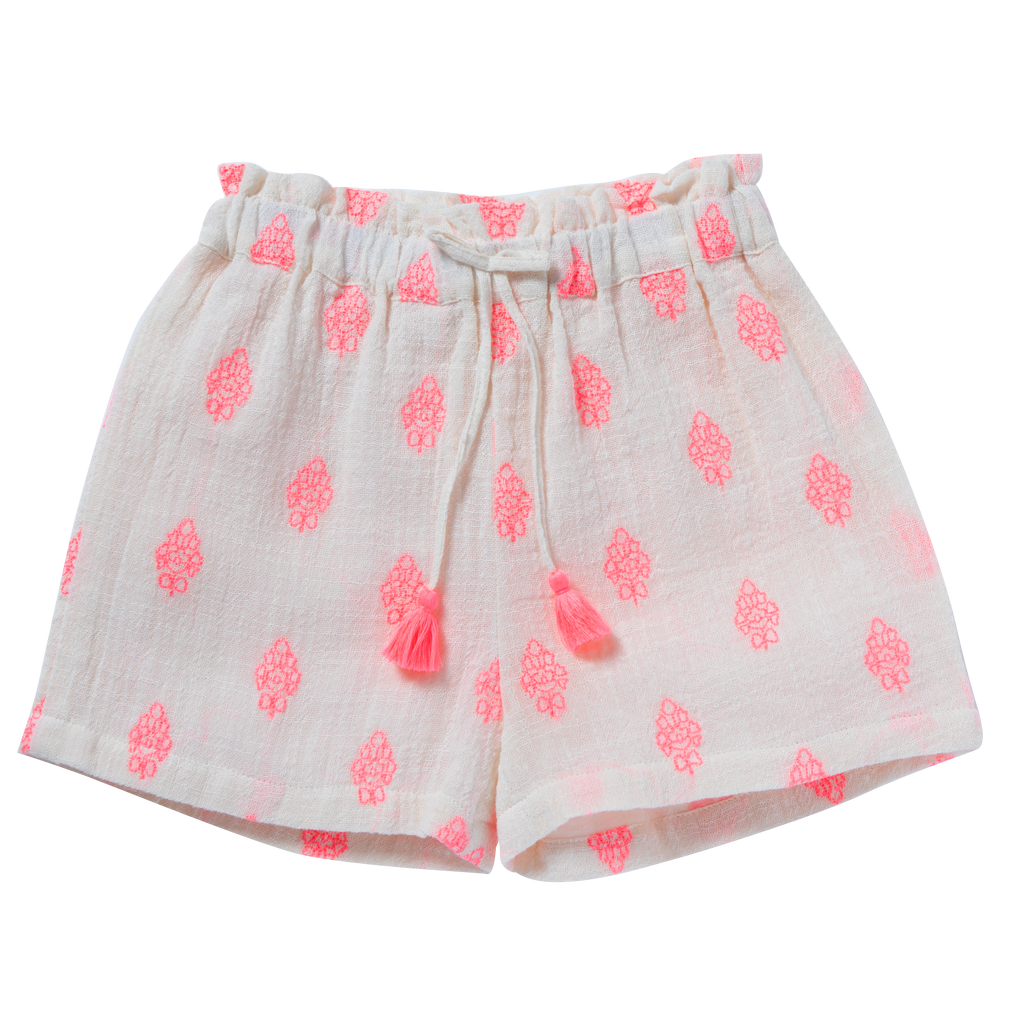 Girls Ombeline Pink & White Shorts