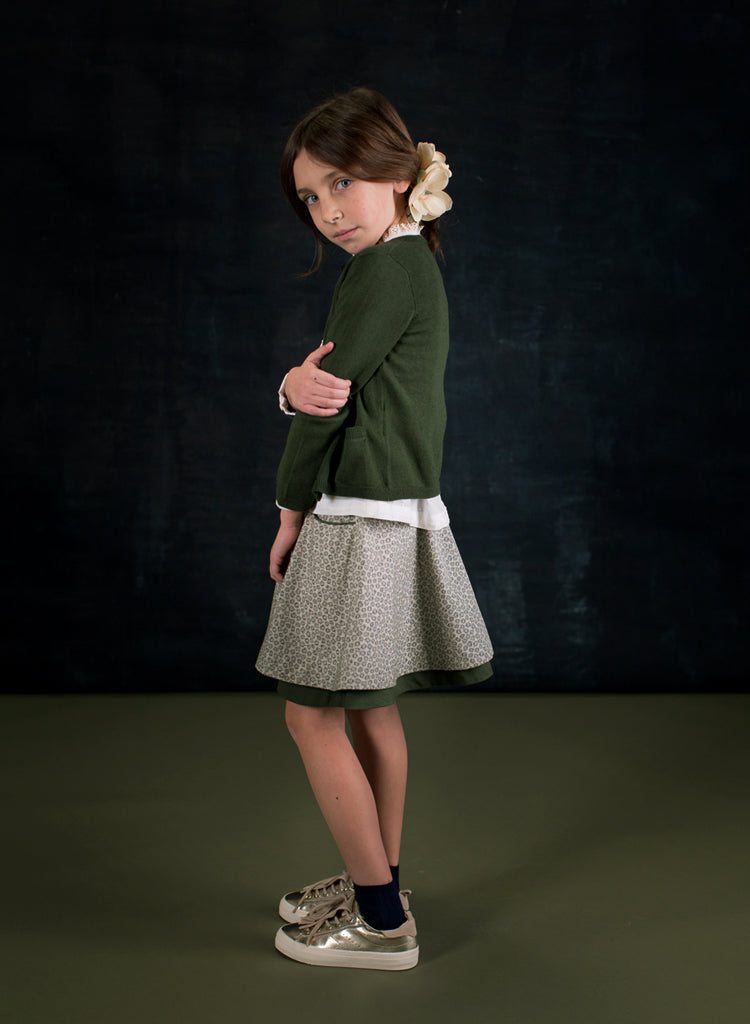 Girls Paulette Moss Green Cardigan