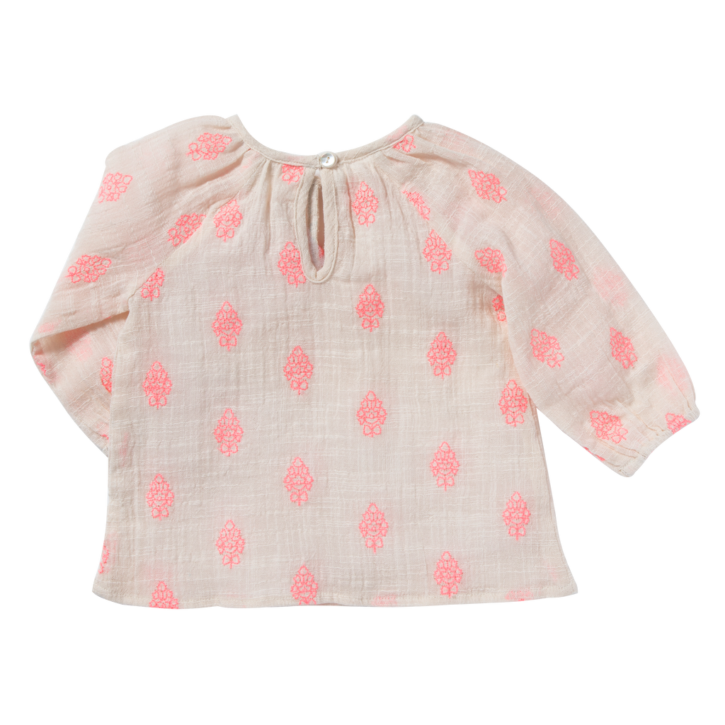 Baby Girl Pompom Pink Flowers Blouse