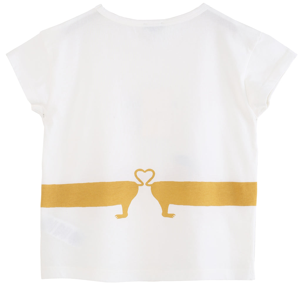 "Girls ""Bons Baisers de Paris"" Dog Ecru T Shirt"