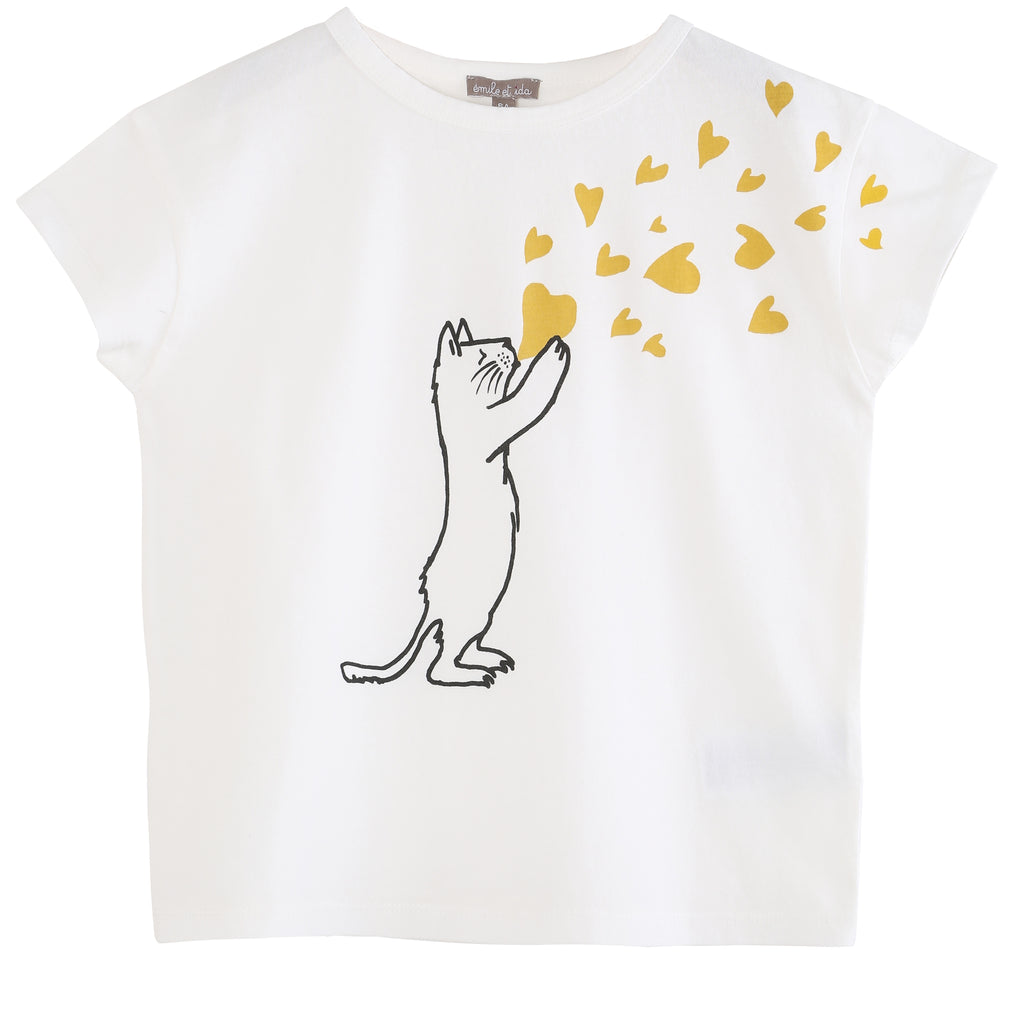 Girls Ecru Cat T shirt