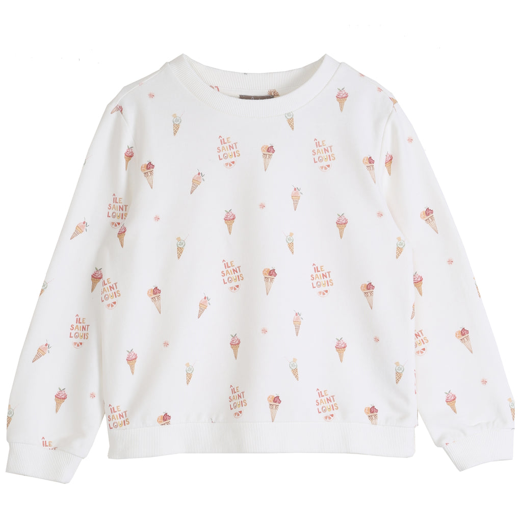 Girls Ile Saint Louis Ice-Cream Ecru Sweatshirt