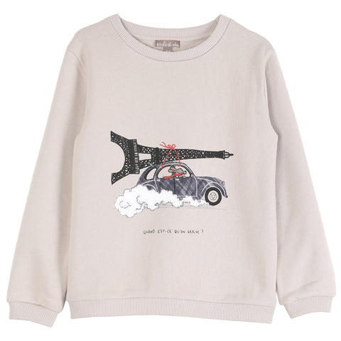 "Girls ""Bon Baisers From Paris"" Apricot Sweatshirt"