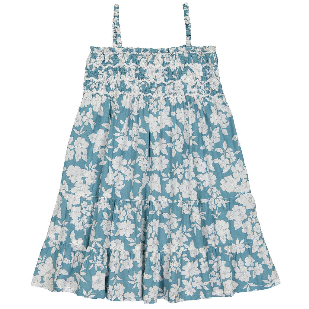 Girls Clea Aqua Bloom Dress