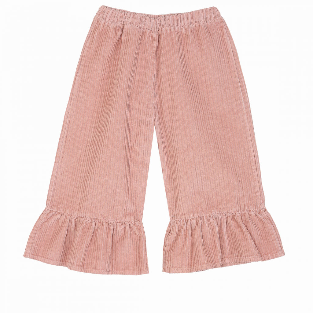 Girls Pink Flounce Trousers