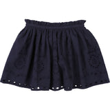 Girls Navy Blue Broderie Anglaise Skirt