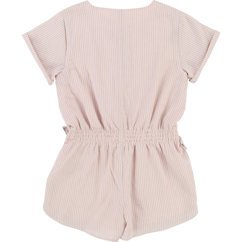 Girls Pink & Blue Striped Playsuit