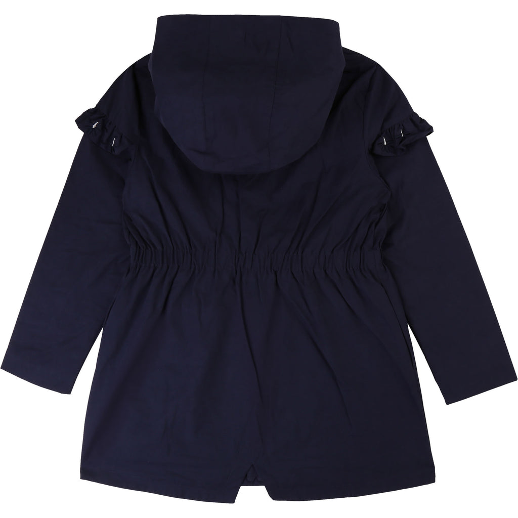 Girls Navy Blue Hooded Parka Coat