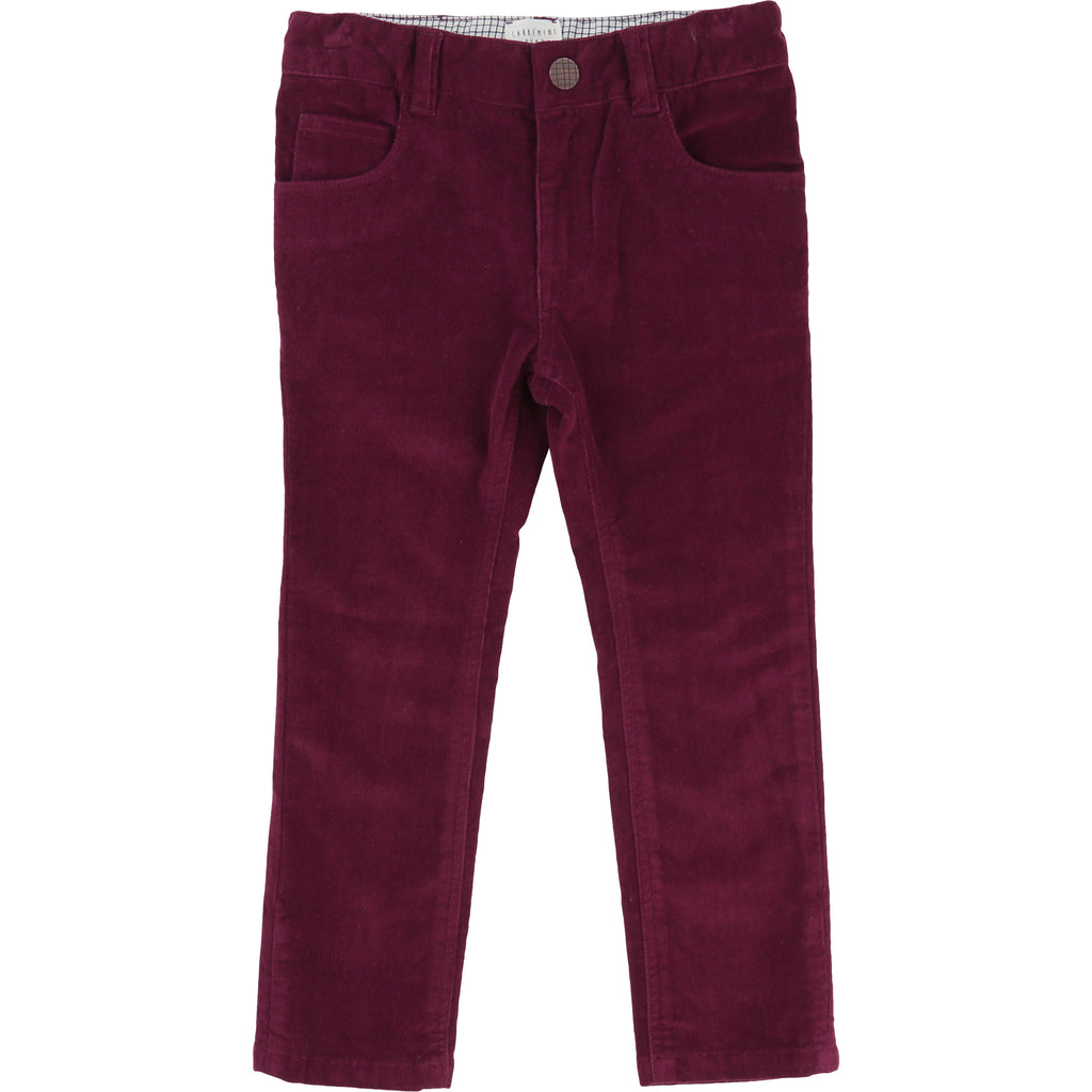 Boys Burgundy Corduroy Trousers