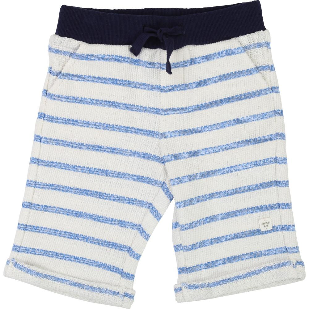 Boys White and Blue cotton Bermuda Shorts
