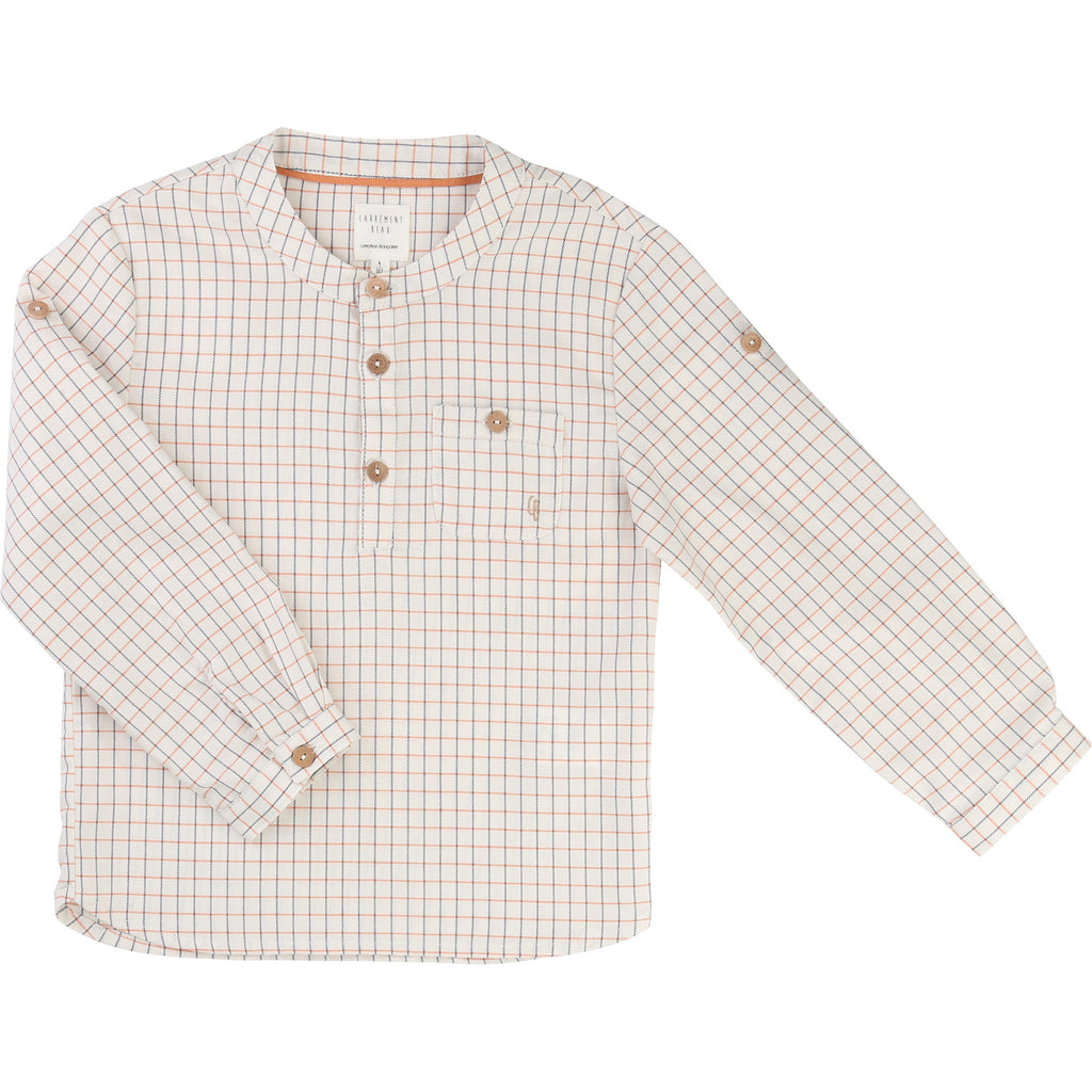 Boys Beige Shirt with Orange & Blue Check
