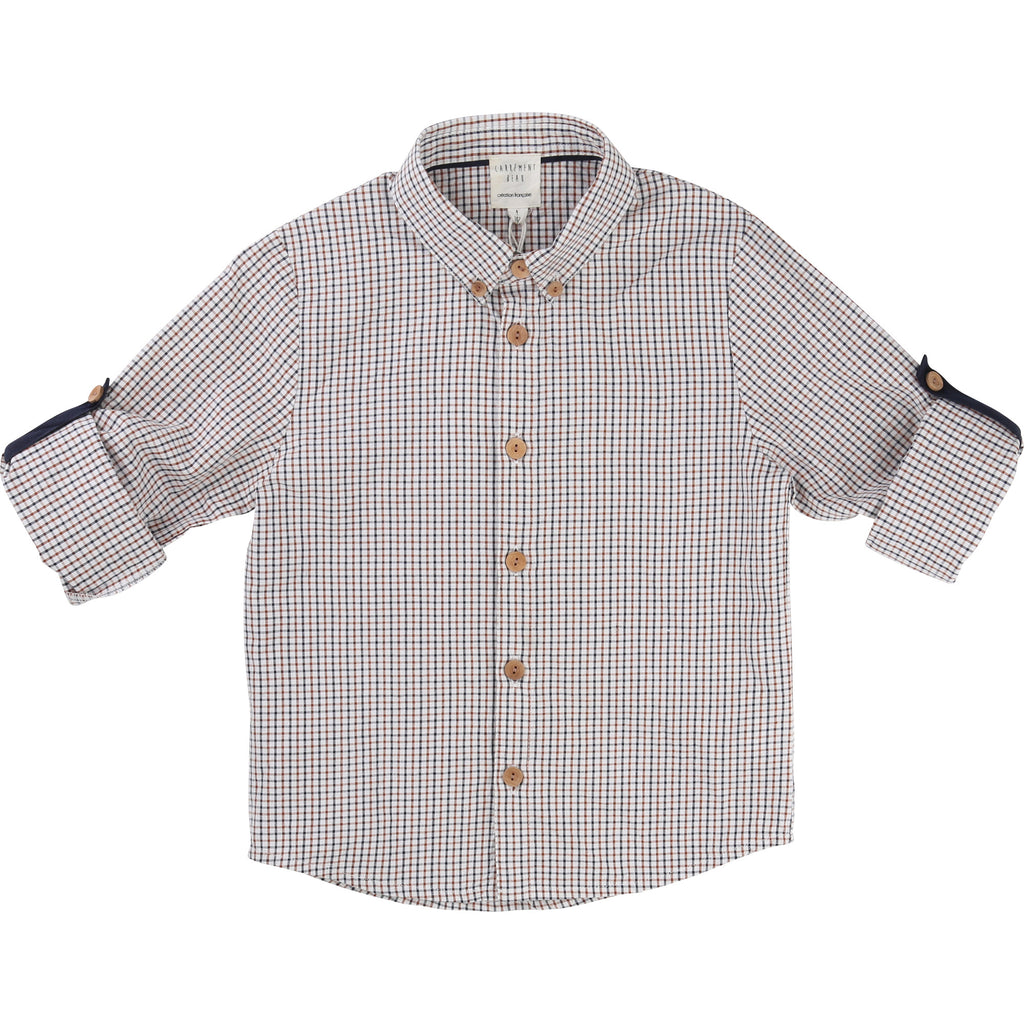 Boys Rust & Blue Checked Shirt