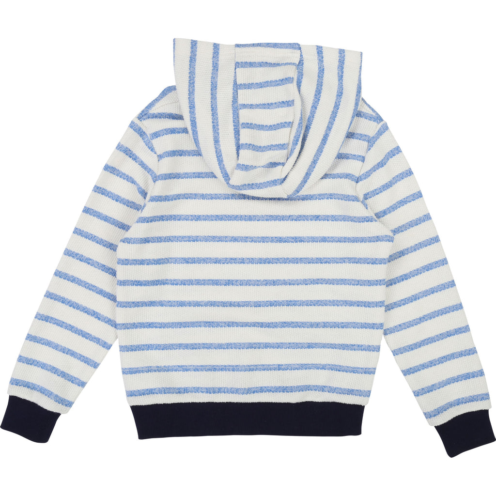 Boys White and Blue Striped Hooded Sweatshirt