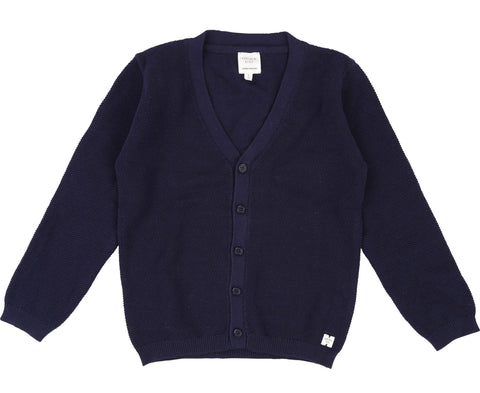 Boys Navy Wool & Cotton Jumper