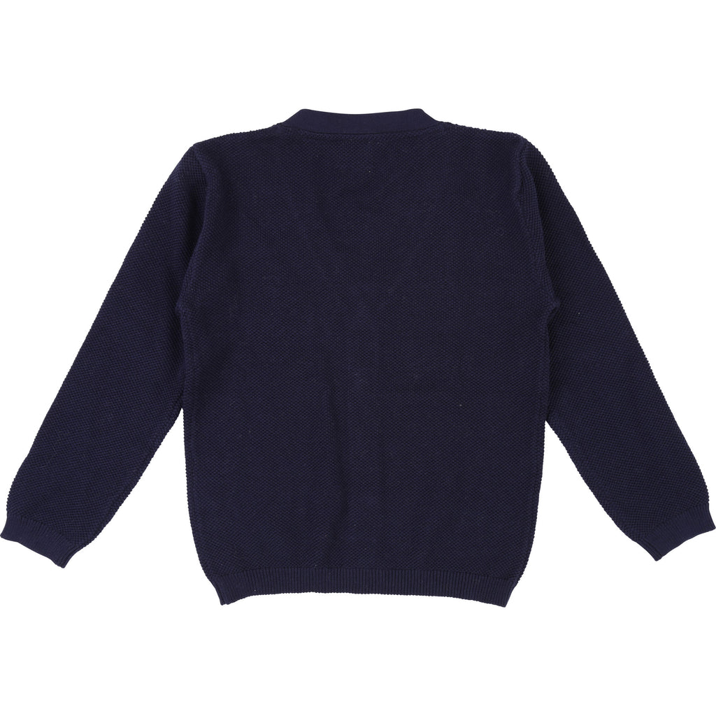 Boys Navy Blue Textured Cardigan