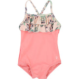 Girls Pink And Floral Print Swimsuit