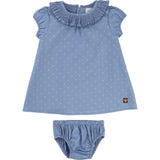 Baby Girl Dotted Slate Blue Dress