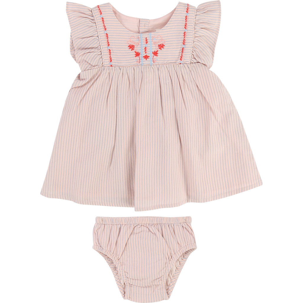 Baby Girl Pink & Blue Striped Dress