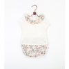 Baby Girl off-white T Shirt with Peter Pan Floral Collar