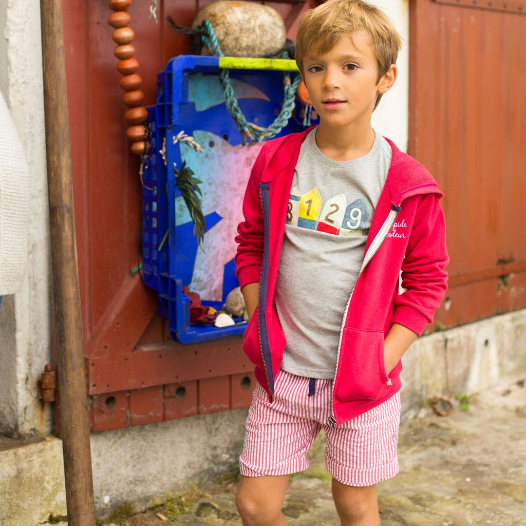 Boys Red Paltro Seersucker Bermuda Shorts