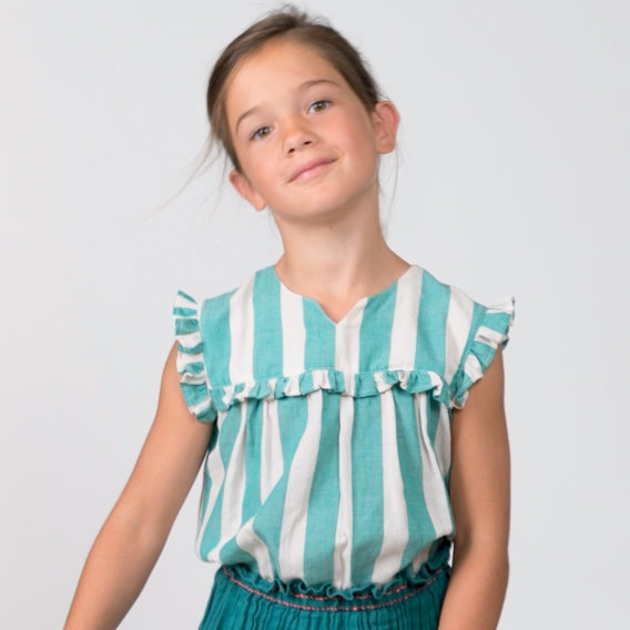 Girls Simona Peacock Green Blouse